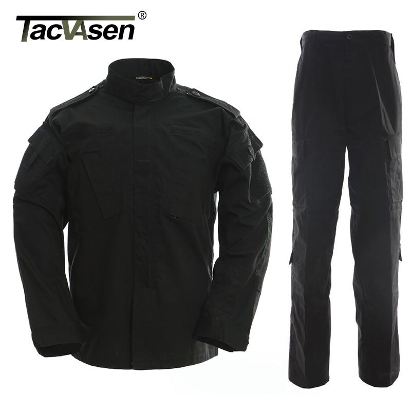 TACVASEN Black Camouflage Men Clothes Tactical Military Uniform Clothing Army Combat Men's Jacket+Pants Hunt Clothes TD-WHFE-015