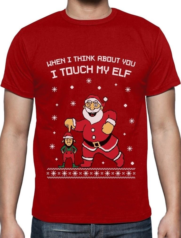 I Touch My Elf Ugly Christmas Santa Funny Sweater Mens T-Shirt Xmas Green Blue Fashion Men T Shirts Round Neck