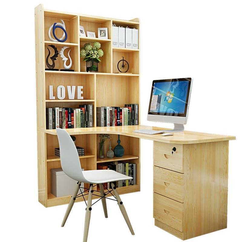 Household Corner Desktop Bookshelf Combination Wooden Children's Study Desk household