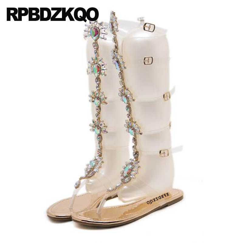 5e385f71c Women 11 Flat Big Size Shoes Rhinestone Gladiator Sandals Thong Transparent  Pvc Strap Up Boots Crystal Diamond Knee High Jewel