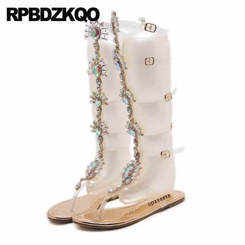 new arrival amazing selection superior quality Women 11 Flat Big Size Shoes Rhinestone Gladiator Sandals Thong ...