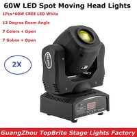 2Pcs/Lot New Arrival 60W CREE LEDS Moving Head Spot Lights DMX512 Control Mini 60W LED Moving Head Gobo Lights Led Spot Dj