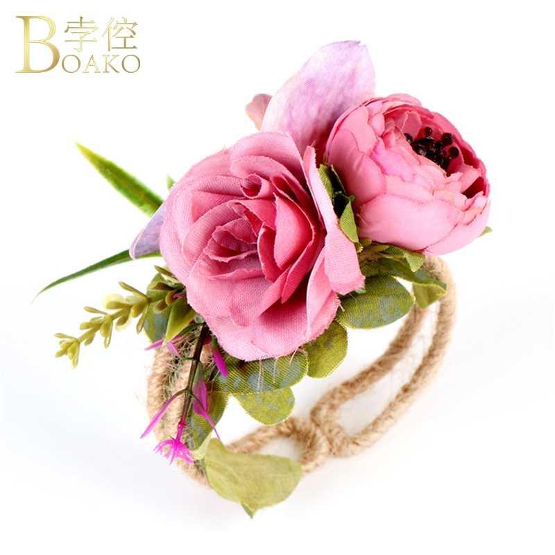 BOAKO Wedding Dalla Damigella D'onore Polso Fiori Sposa Mano Polso Corsage Fiore Decorativo per la Cerimonia Nuziale di Promenade Accessori A Mano fiori