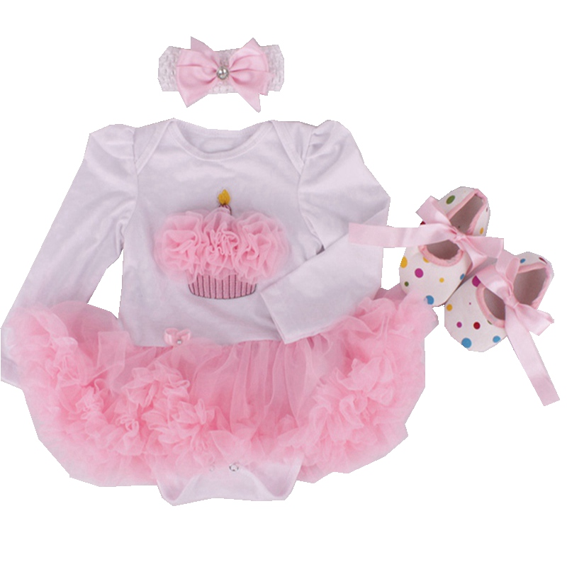 Cake Girls Birthday Tutu Outfits Long Sleeve Romper Dress Crib Shoes Headband Newborn Tutu Sets 3 Piece Baby Girl Clothing Set