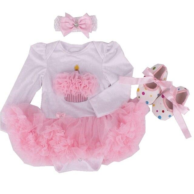 be6134105 Pastel de cumpleaños de las niñas Tutu trajes de mameluco de manga larga  vestido zapatos diadema