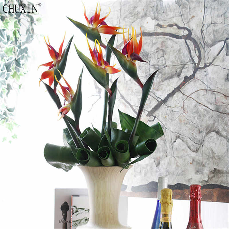New Silicone Paradise Bird Strelitzia Simulation Beatiful Fake Flower Arrangement Wall Decoration For Home Hotel Office Table Fake Flower Arrangements Flower Arrangementdecorations For Home Aliexpress