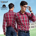 Lesmart Mens Plaid Shirt Long Sleeve Pure Cotton Brand New Clothing Red Fashion Casual Business Dress Slim Fit Camisas Masculina
