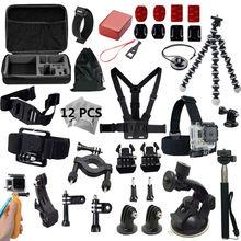 Gopro accessories set go pro kit mount for SJ4000 gopro hero5 4 3 2 Black Edition SJCAM SJ5000 camera case xiaoyi chest tripod