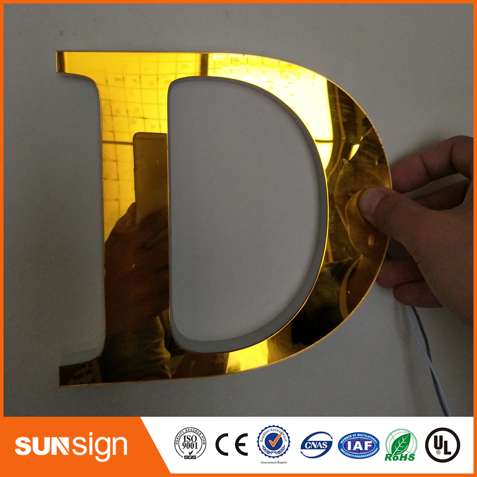 Hot sale brushed stainless steel colors changable RGB backlit numbers and letters