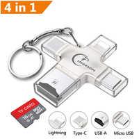 Ingelon lector de tarjeta SD Micro SD adaptador de tarjeta USB de Metal microsdhc/sdxc a xqd lector de tarjetas OTG adaptador usb para adaptador de iluminación
