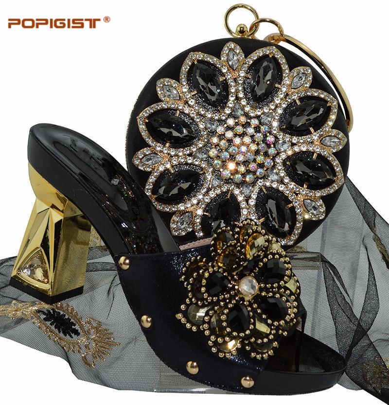 Pour La Pantoufle Mariage Blue purple D'été Femmes Bleu r blue Black Ensemble Chaussures gold Strass Conception Ciel sky De Sac red Robe silver Et Nigérian Africain 80wAA