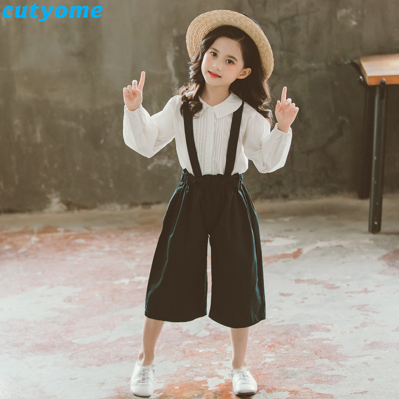 Fall Teenage Girls Clothing Kids 2pcs Outfit Set Toddler Girl Boutique Back To School Clothes White Blouse Wide Leg Bibs Pant 12 in Clothing Sets from Mother Kids