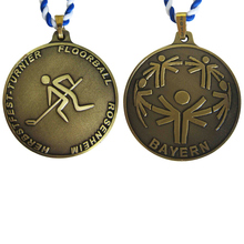 custom medals low price Zinc Alloy antique brass Sports Medals with Ribbon