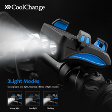 CoolChange 4 in 1 Electronic Bell 130db Horn MTB Bike Light With USB Charging Power Bank Cycling Phone Holder