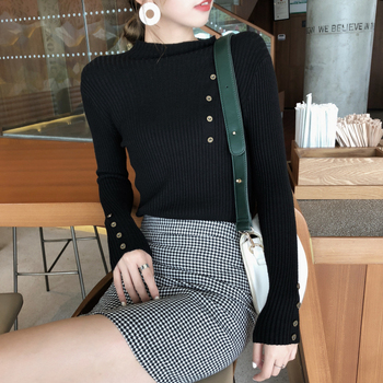 New Fashion Button Turtleneck Sweater Women Spring Autumn Solid Knitted Pullover Women Slim Soft Jumper Sweater Female Knit Tops 3