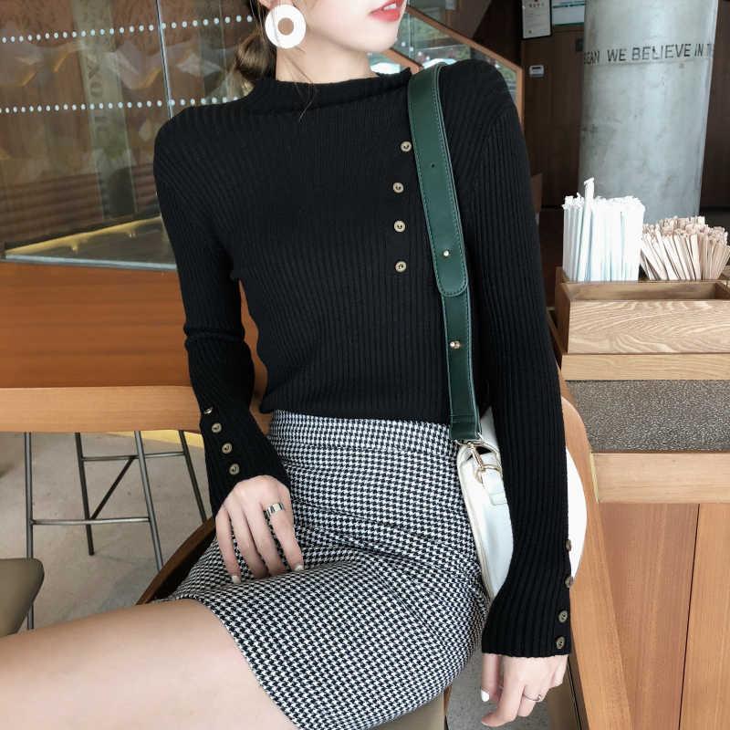 Nieuwe Mode Knop Coltrui Trui Vrouwen Lente Herfst Solid Gebreide Trui Vrouwen Slim Soft Jumper Trui Vrouwelijke Gebreide Tops