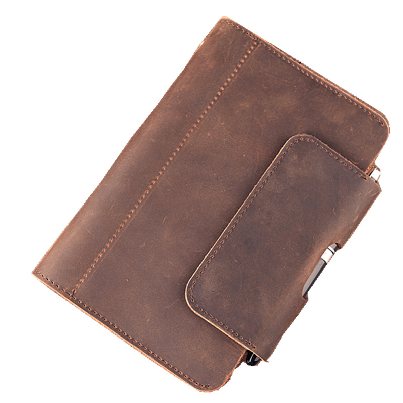 100% Genuine Leather A6 Notebook Vintage Diary Book Travel Journal Christmas Birthday Gift for Men Women Office Supplies BJB19