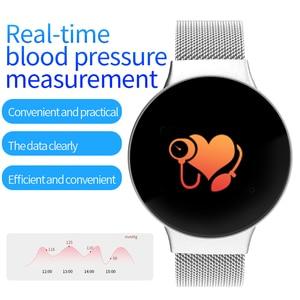 Image 5 - Dropshipping tanie BluetoothSmart zegarek dla androida/IOS iphone wodoodporny ekran dotykowy sport zdrowie inteligentny zegarek damski