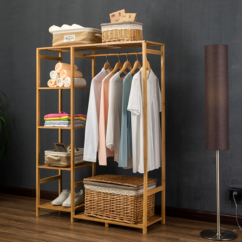 LK23 Nature Baboom Wardrobe Multifunction Burlywood Storage Rack Orgnizer Large Capacity Clothing Hanger Coat Home Furniture