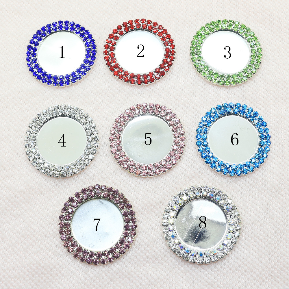 2017 New Fashion 10Pcs 40MM Round  Buttons Diamond Hair Flower Ribbon Webbing Wedding Decoration Crysta Accessories Mix Color