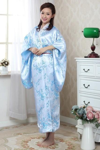 8175ab9a7 Light Blue Japanese Women's Silk Satin Kimono Yukata Haori With Obi  Performance Dance Dress Vintage Evening