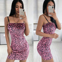 Sexy Women 2019 New summer dress Mini Dress Strappy Dress Fashion Leopard  Summer Party Bodycon Dress Hot Clubwear Vestidos