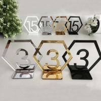 Geometric Table Number Signs for Wedding Party Decor,silver or Gold Acrylic Number,Roman Numerals Geometric Boho Centerpiece