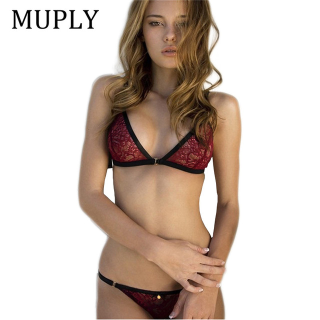 MUPLY 2018 New Fashion Red Lace Sexy Bra Set Adjustable Straps Bralette for Women Underwear 3 Point Bikini Set Soft Panties