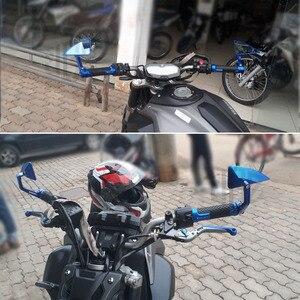 Image 2 - مرايا جانبية للدراجات النارية من الألومنيوم CNC ، مرآة مقود عالمية 22 مللي متر لهوندا كاواساكي ياماها KTM Ducati ، ملحقات
