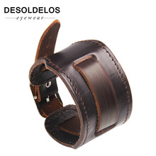 2019 Cowboy Style Bracelet Black/brown Strap Double Wide Wrap Leather Buckle Wristband Men Cuff Bracelets Punk Jewelry