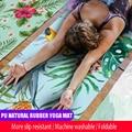 Esteras de Yoga portátiles 183*68 cm * 1mm de goma Natural gruesa de gamuza patrón colorido estampado antideslizante bolsa de Pilates para ejercicios
