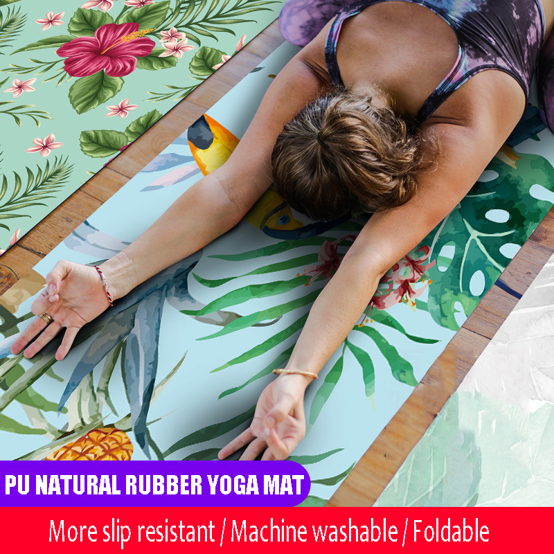 Portable Yoga Mats 183*68cm*1mm Thick Natural Rubber Suede Colorful Pattern Print Anti-skid Pilates Exercise Mat Tote