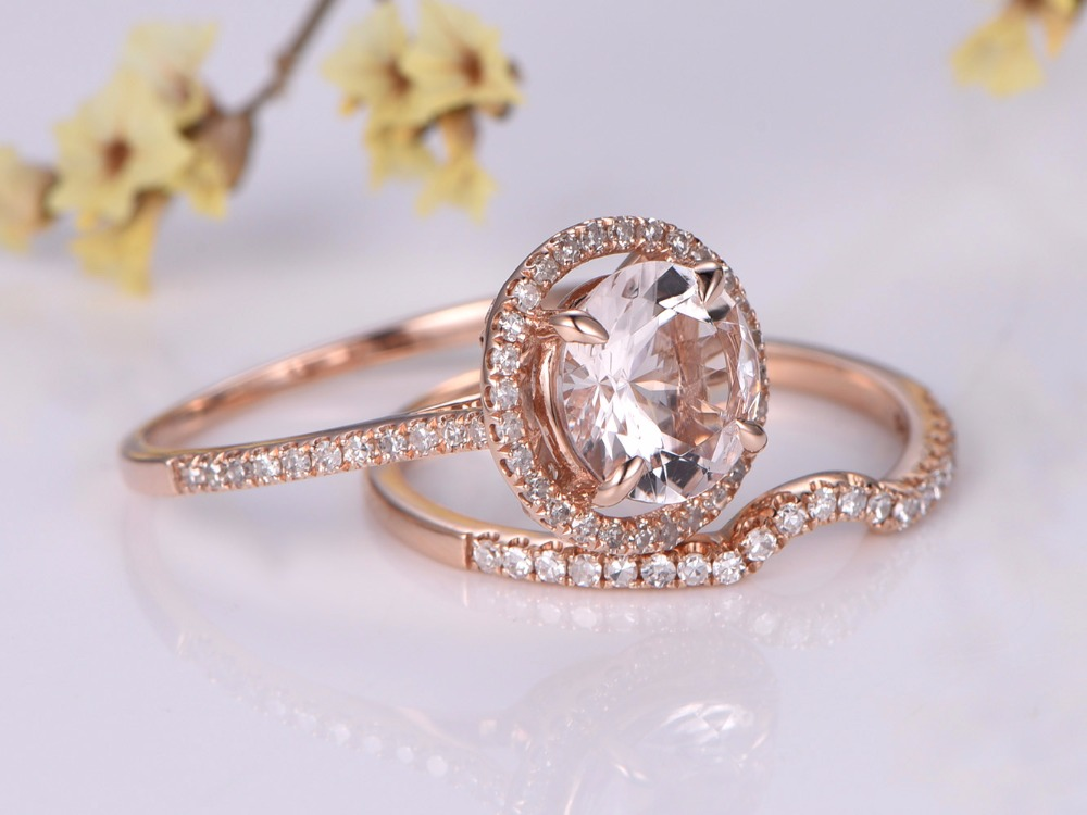 item jewelry ring birthstone gold matching rings bands wedding set oval morganite cut myray natural diamond simple in band from