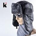 2017 nueva cap capó mens caliente del invierno del sombrero de piel de cuero rusia nieve gorras orejeras bombardero sombreros para los hombres