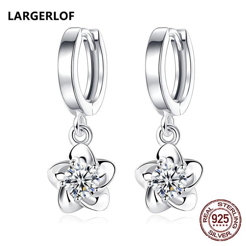 LARGERLOF 925 Sterling Silver Drop Earrings Jewelry Earrings Fashion Long Earrrings For Women ED3007