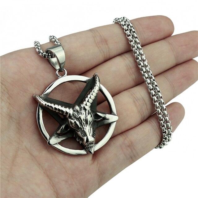 Mens Boys Penadnt Chain Baphomet Goat Pentagram Devil Shar Amulet Stainless Steel Necklace Jewelry Length 45-90cm