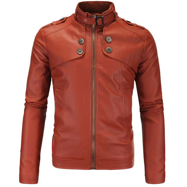Dad Father Black Brown Jackets Men Stand Collar Long Sleeve PU Leather Jacket Coats Male Zipper Up Stylish Cool Motor Outwear