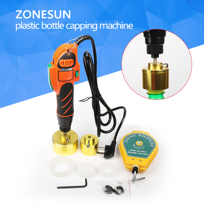 цена на ZONESUN Hand held bottle capping tool, plastic bottle capping machine 10-50mm cap screw capping machine, 64kg/fcm manual capper