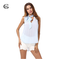 Lace Girl Summer Blue Stripes Chiffon Blouse Casual Sleeveless Bow Tie Lace Up V Neck Women