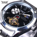 JARAGAR Fashion Casual Tourbillon Wrap Mens Watches Automatic Silver Case Calendar Male Clock Black Mechanical Watch