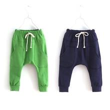 Спортивные Свободные повседневные штаны-шаровары для маленьких детей в Корейском стиле, для занятий фитнесом, От 2 до 6 лет штаны с эластичной резинкой на талии, детские штаны для мальчиков