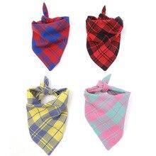 Fashion Personalized 100%  Cotton Triangular Bibs Dog Scarves Reversible Plaid Printing Bandana