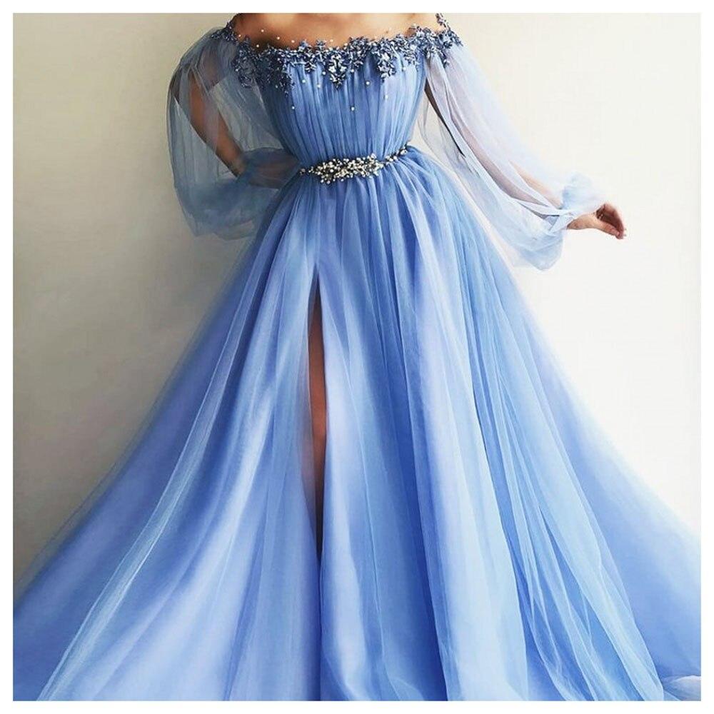 2019 Elegant Side Split Pearls Evening Party Dress Sky Blue Formal Crystal Bling Prom Dresses Off