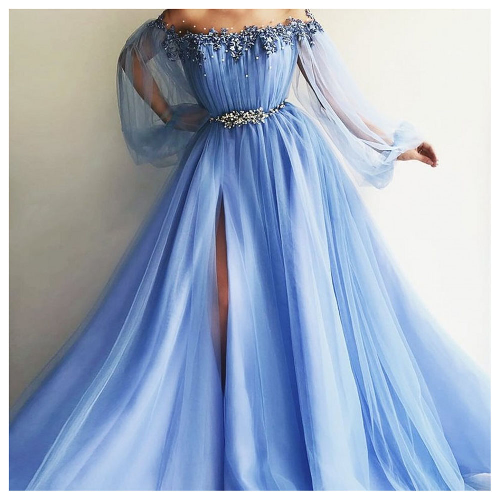 2019 Elegant Side Split Pearls Evening Party Dress Sky Blue Formal Crystal Bling Prom Dresses Off The Shoulder Evening Gowns