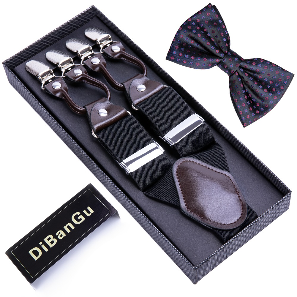 Fashion 6 Clip Men's Suspenders Black Bowtie Adjustable Elastic Strap Leather Suspender Bowtie Set For Unisex BD004-LJ020