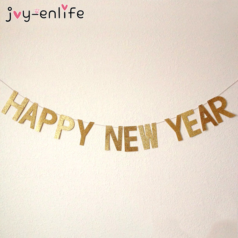 joy enlife 1set gold glitter happy new years banner bunting garland photo prop backdrop decor new year party christmas decor in banners