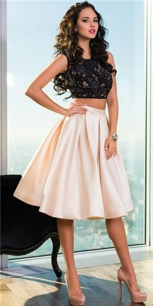 Hot Sale Two Piece Prom Dresses For Teens Sweet Sixteen Girls Cheap Sheer Backless Black Lace