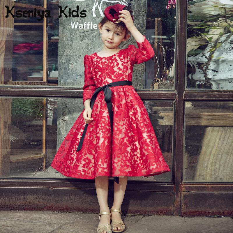 Kseniya Kids 2017 Winter Red Lace Long Sleeved Dress Girls Puff Children Princess Wedding Party Birthday Dress High-end Brand girls europe and the united states children s wear red princess long sleeve princess dress child kids clothing red bow lace