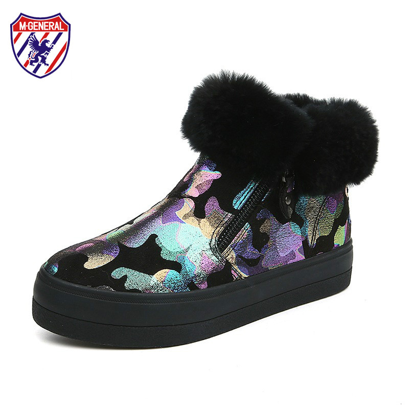 M.GENERAL Women Snow Boots with Fur 2017 New Female Ankle High Boots for Winter Camouflage Style Woman Boots Floral Size 35-40