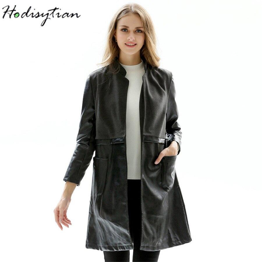Hodisytian Women PU   Leather   Jackets Long Bomber Jacket Woolen Patchwork Motorcycle Coat Outerwear Cardigans Femme Plus Size